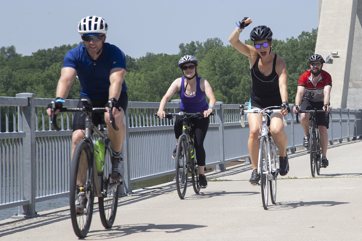Cyclists ride during the Big Rove bicycle event on Saturday, June 29, 2019. The route, which is part of the RAGBRAI training series, was 36 miles long starting in Iowa City with stops in North Liberty and Solon.