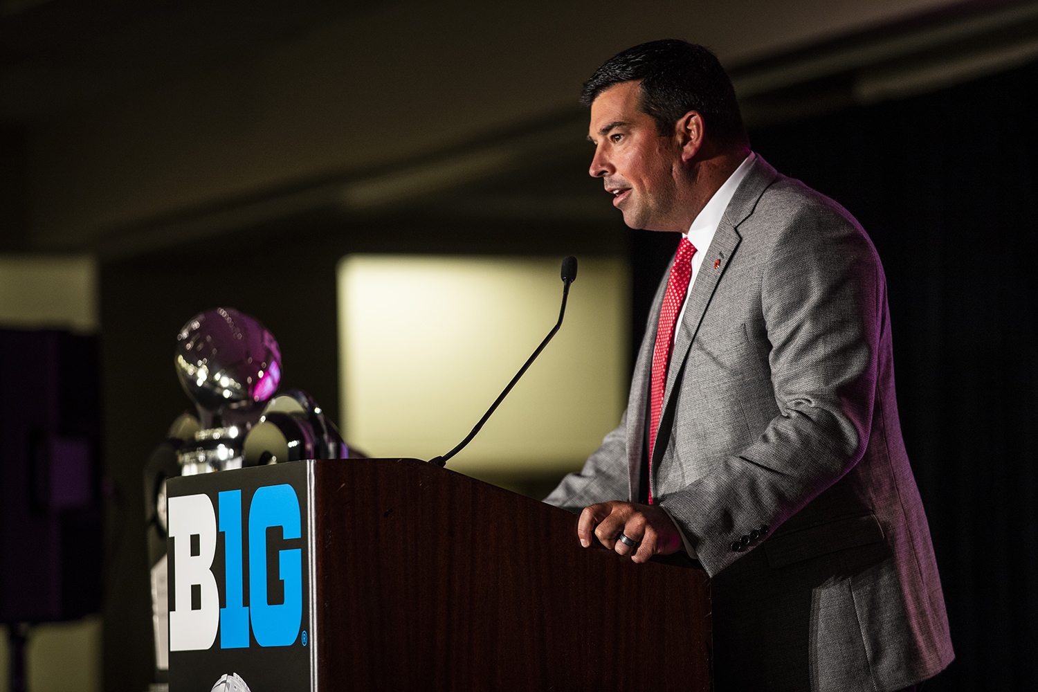 Ohio State head coach, Ryan Day, addresses the media during the Big Ten Football Media Day in Chicago, Ill., on Thursday, July 18, 2019.