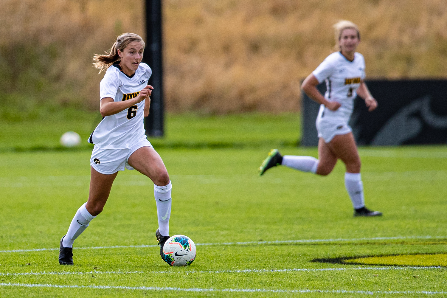 Iowa midfielder Isabella Blackman runs down the field during a women's soccer match between Iowa and Maryland at the Iowa Soccer Complex on Sunday, October 13, 2019. The Hawkeyes shut out the Terrapins, 4-0.