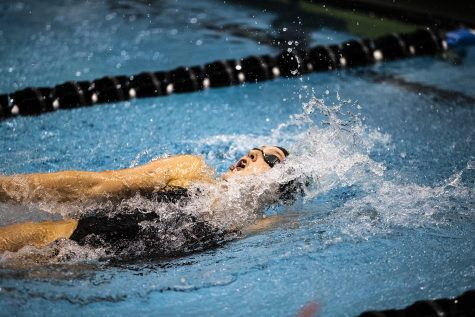 UI swimmer Emelia Sansome competes during the triangle meet against Michigan State and UNI on Thursday, October 3, 2019.