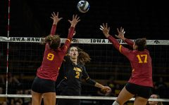 Iowa setter Courtney Buzzerio goes for a kill during a volleyball match between Iowa and Iowa State at Carver-Hawkeye Arena on Saturday, September 21, 2019. The Hawkeyes fell to the visiting Cyclones, 3-2.