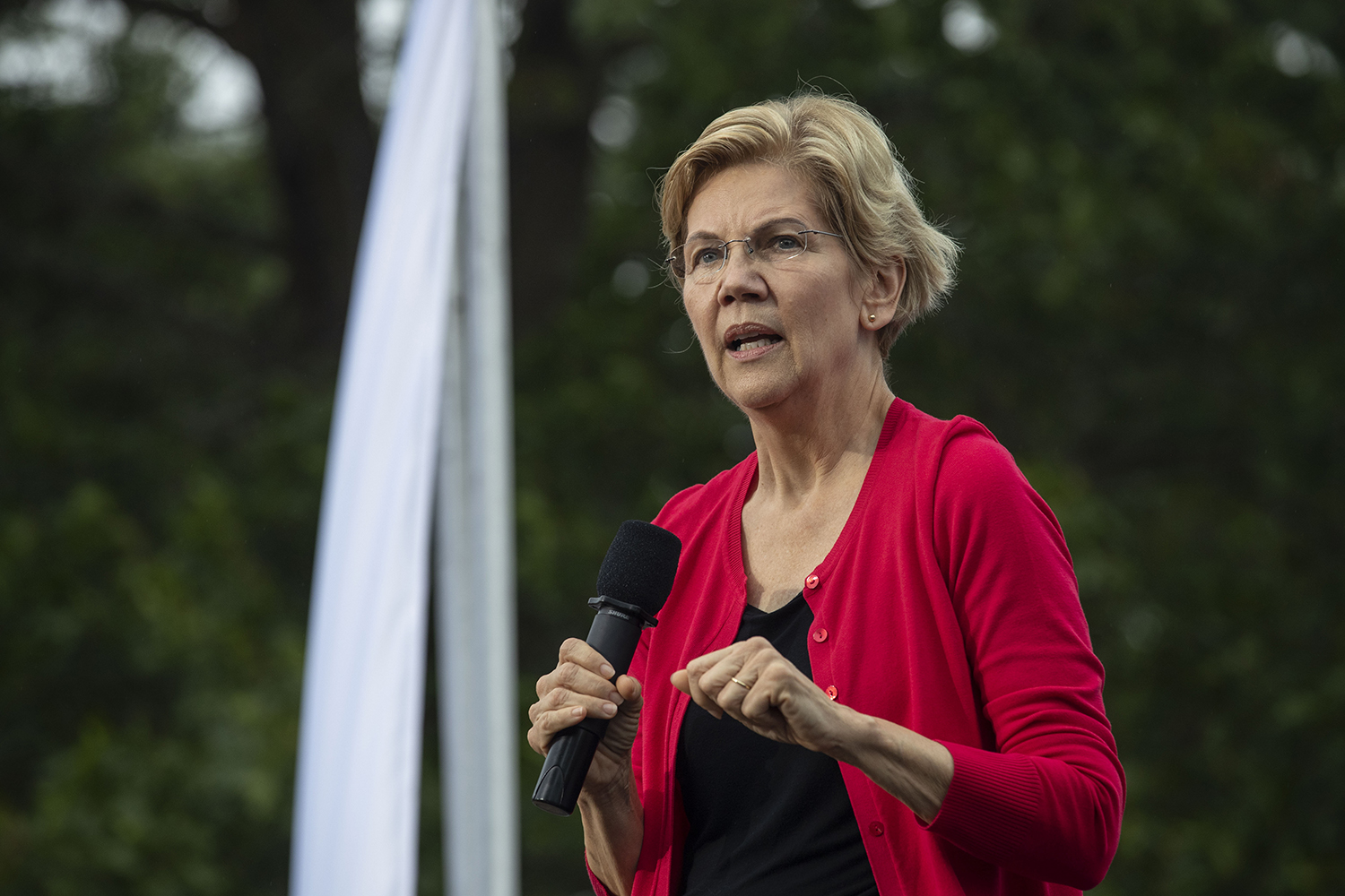 Sen. Elizabeth Warren, D-Mass, addresses the crowd during the Polk County Steak Fry in Des Moines on Saturday Sept. 21, 2019. 17 democratic candidates gave speeches and grilled steaks.