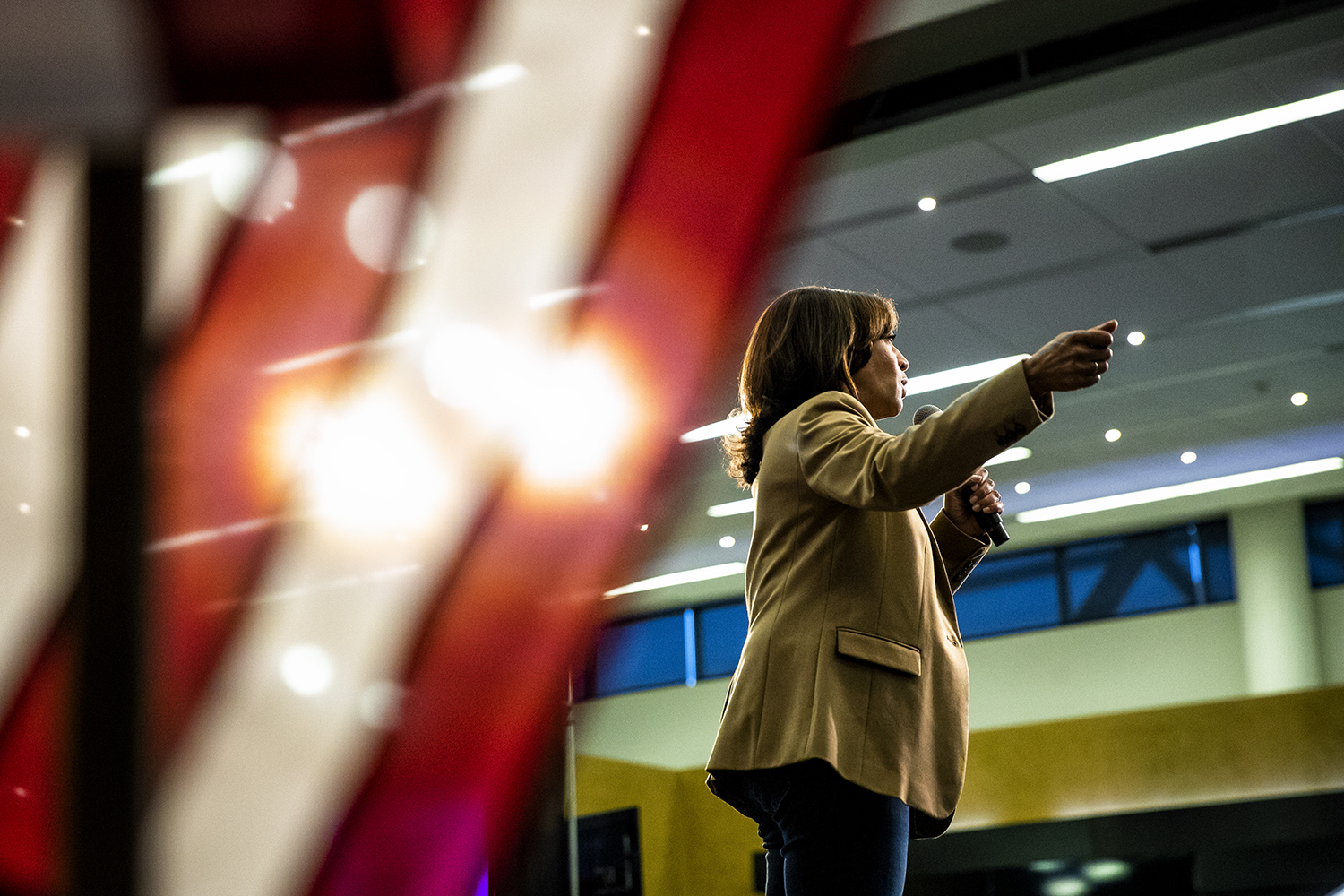 Sen. Kamala Harris speaks during her town hall at Carver-Hawkeye Arena on Tuesday, October 22, 2019. Harris stuck to her stump speech about equality, specifically among marginalized communities and condemned President Trump's divisive rhetoric.