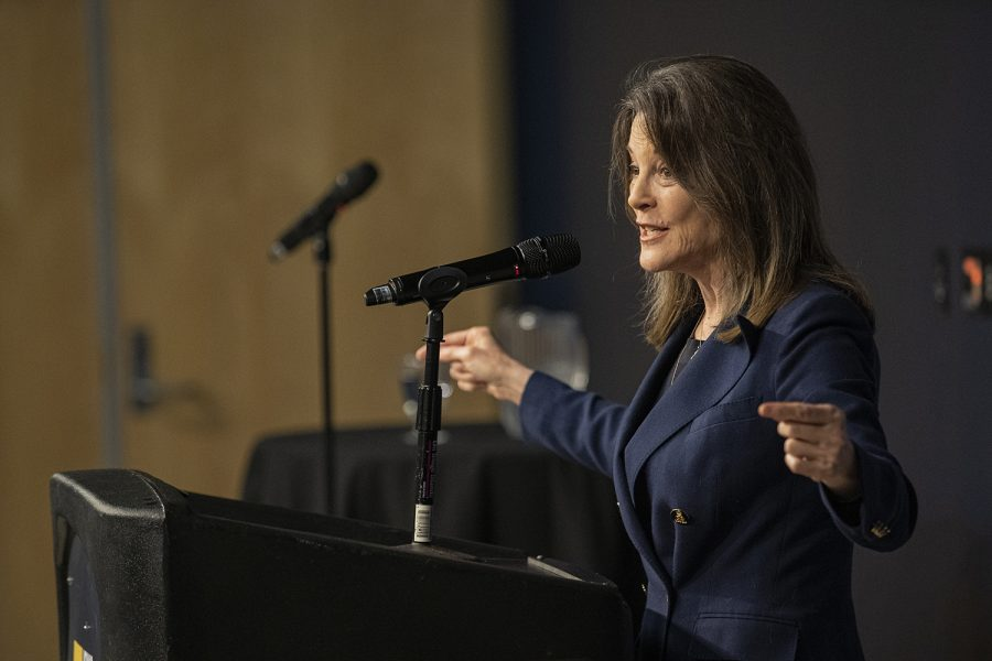 Democratic presidential candidate Marianne Williamson speaks with The Daily Iowan in the IMU on Tuesday, Oct. 22, 2019.
