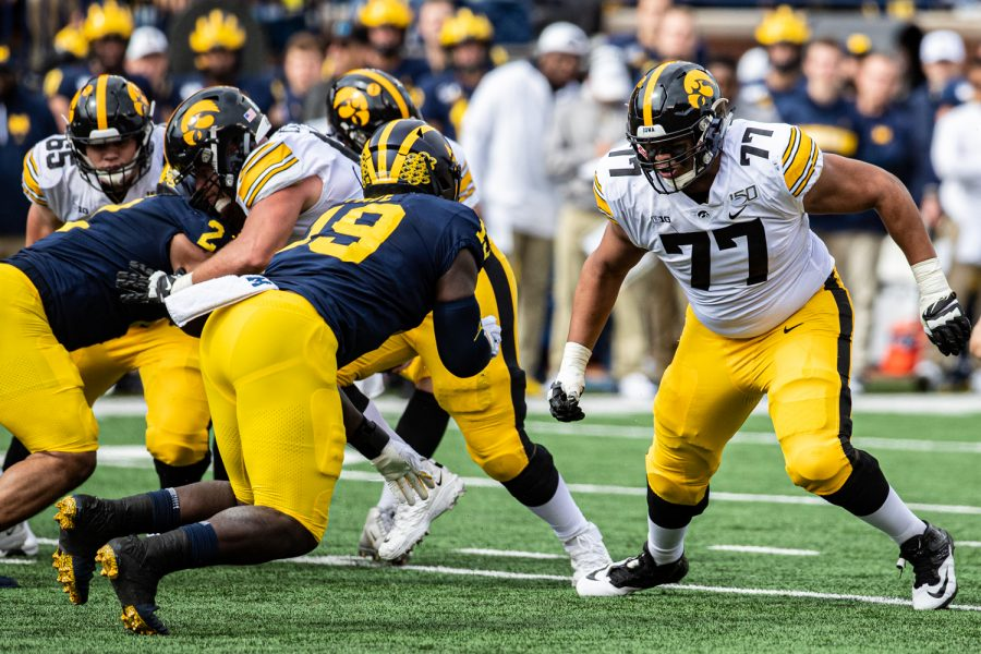 Iowa offensive lineman Alaric Jackson prepares to block during a football game between Iowa and Michigan in Ann Arbor on Saturday, October 5, 2019.