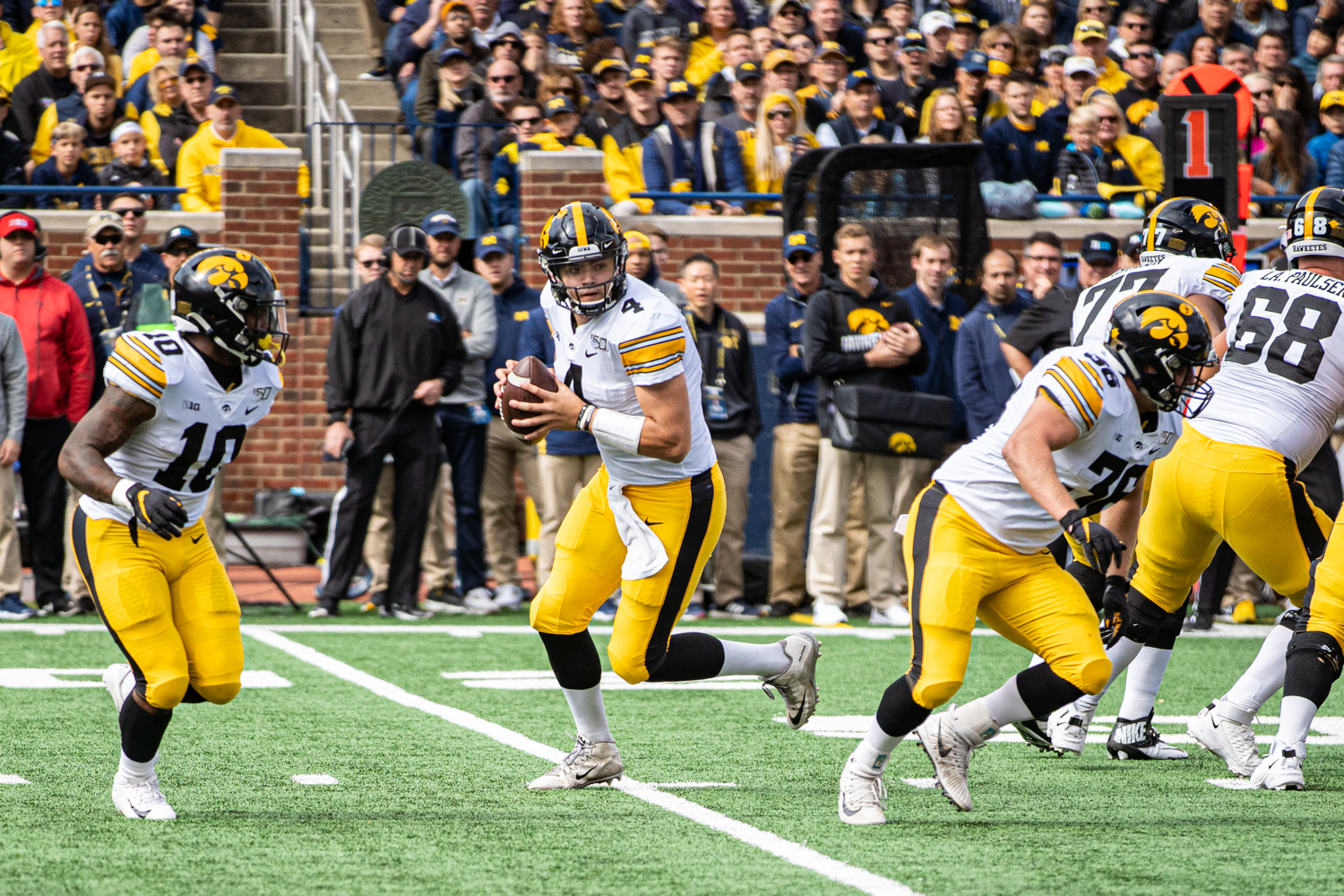 Iowa quarterback Nate Stanley drops back during a football game between Iowa and Michigan in Ann Arbor on Saturday, October 5, 2019.