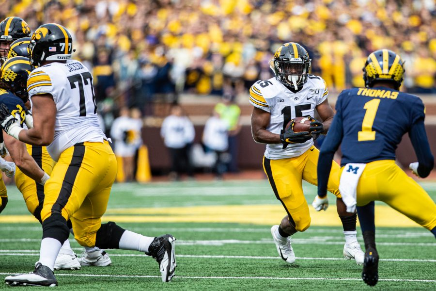 Iowa+running+back+Tyler+Goodson+carries+the+ball+during+a+football+game+between+Iowa+and+Michigan+in+Ann+Arbor+on+Saturday%2C+October+5%2C+2019.+
