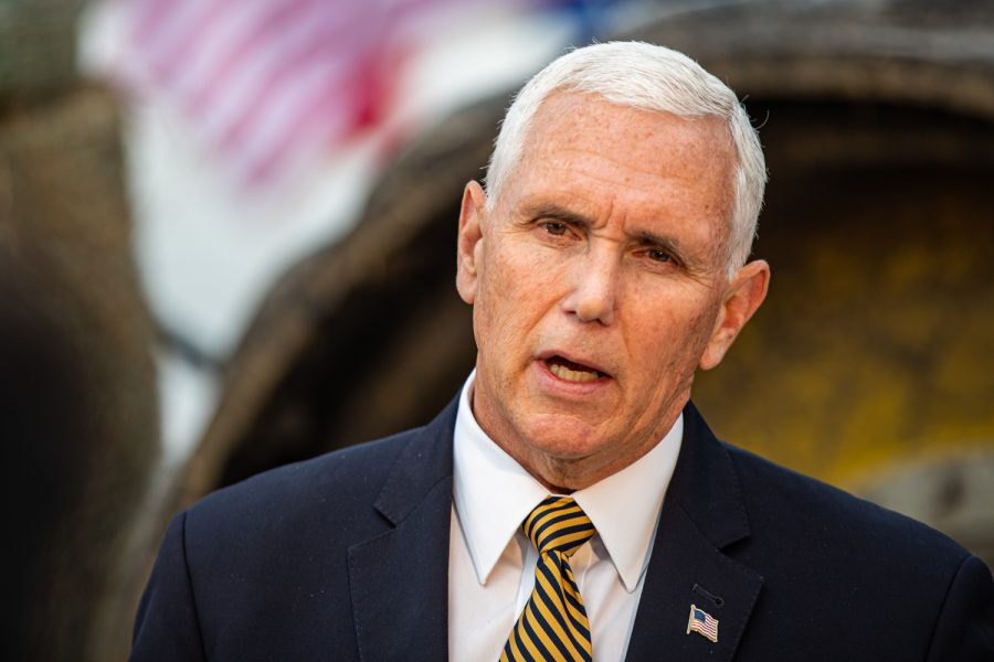 Vice+President+Mike+Pence+speaks+during+a+during+a+farm+visit+hosted+by+America+First+Policies+in+Waukee+on+Wednesday%2C+October+9%2C+2019.+