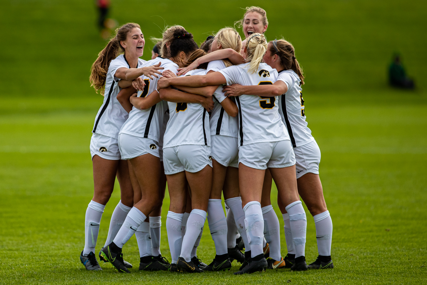 Iowa players celebrate a goal during a women's soccer match between Iowa and Maryland at the Iowa Soccer Complex on Sunday, October 13, 2019. The Hawkeyes shut out the Terrapins, 4-0.