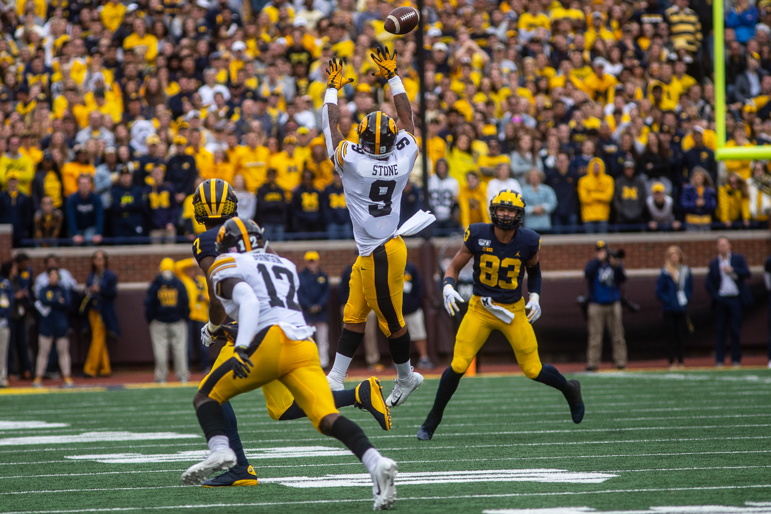 Iowa defensive back Geno Stone goes up for an interception during a football game between Iowa and Michigan at the Michigan Stadium in Ann Arbor, Michigan on Saturday, October 5, 2019. The Wolverines defeated the Hawkeyes 10-3.