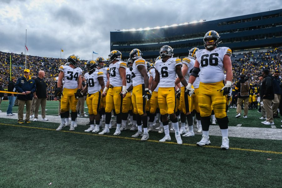 Iowa+players+prepare+to+leave+the+field+following+a+football+game+between+Iowa+and+Michigan+at+the+Michigan+Stadium+in+Ann+Arbor%2C+Michigan+on+Saturday%2C+October+5%2C+2019.+The+Wolverines+defeated+the+Hawkeyes+10-3.