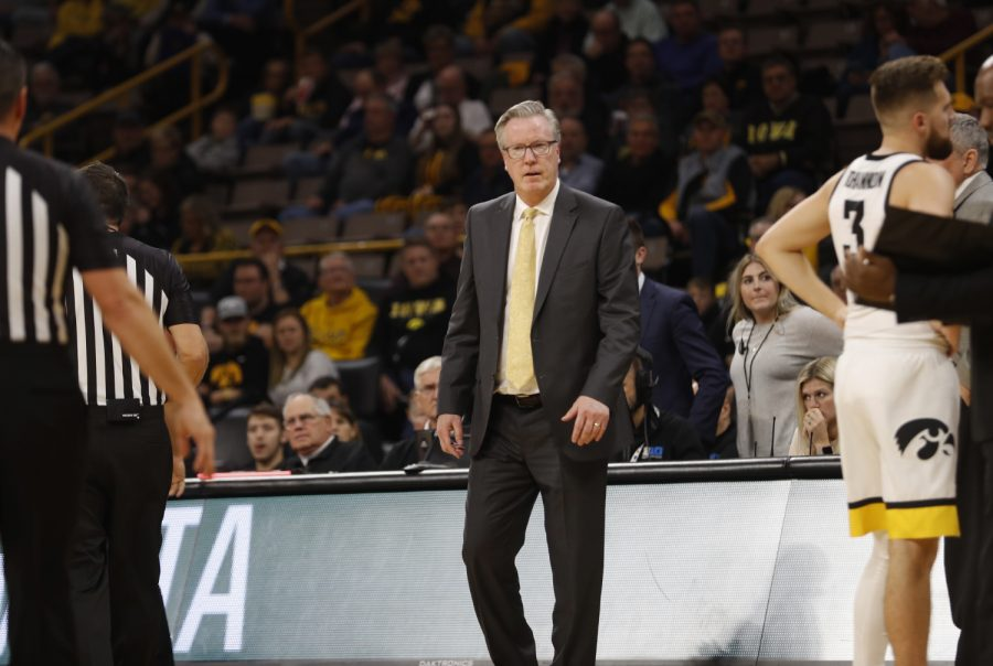 Iowa+head+coach+Fran+Mccaffery+prowls+around+the+court+following+a+time+out+during+the+Iowa+vs+Oral+Roberts+game+at+Carver+Hawkeye+Arena+on+the+15+Nov.+2019.+The+Hawkeyes+won+with+a+final+score+of+87-74.