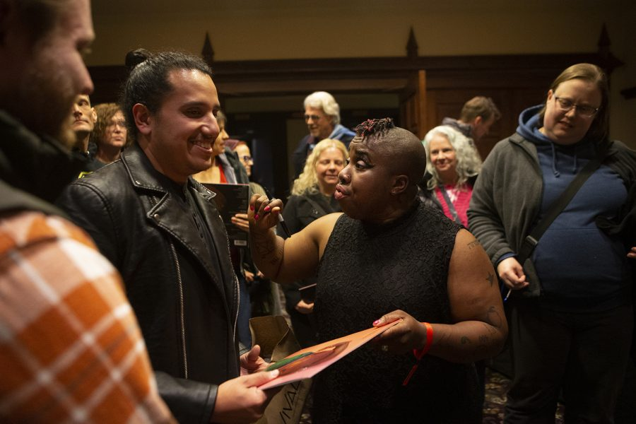 Sharon Udoh, who performs under the name Counterfeit Madison talks with fans after a performance at the Englert Theater on November 2, 2019. She performed a mix of original songs as well as covers while discussing the music of Nina Simone.