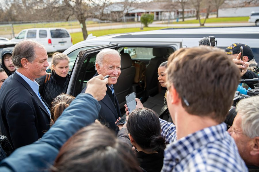 Former Vice President Joe Biden speaks to the press during the first annual Finkenauer fish fry at Hawkeye Downs on Saturday, November 2, 2019.  U.S. Rep. Abby Finkenauer hosted eight presidential candidates for a fish fry focused on jobs and infrastructure.