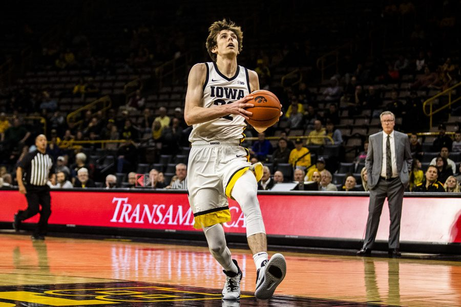 Iowa+forward+Patrick+McCaffery+prepares+to+shoot+the+ball+during+the+men%27s+basketball+game+against+Lindsey+Wilson+College+at+Carver-Hawkeye+Arena+on+Monday%2C+November+4%2C+2019.+The+Hawkeyes+defeated+the+Blue+Raiders+96-58.