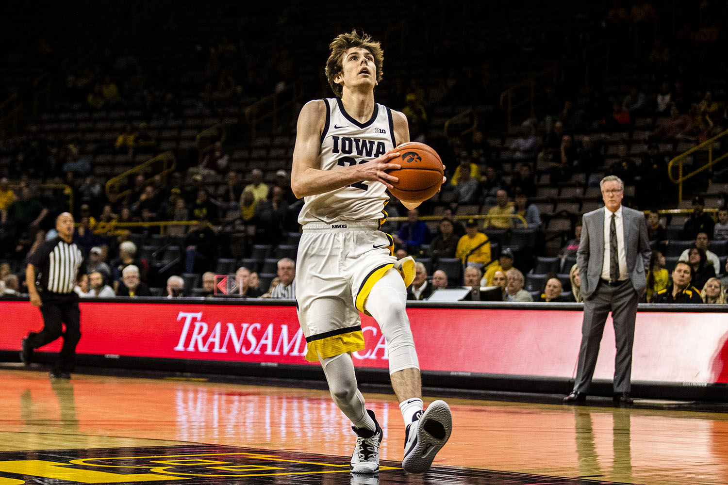 Iowa forward Patrick McCaffery prepares to shoot the ball during the men's basketball game against Lindsey Wilson College at Carver-Hawkeye Arena on Monday, November 4, 2019. The Hawkeyes defeated the Blue Raiders 96-58.