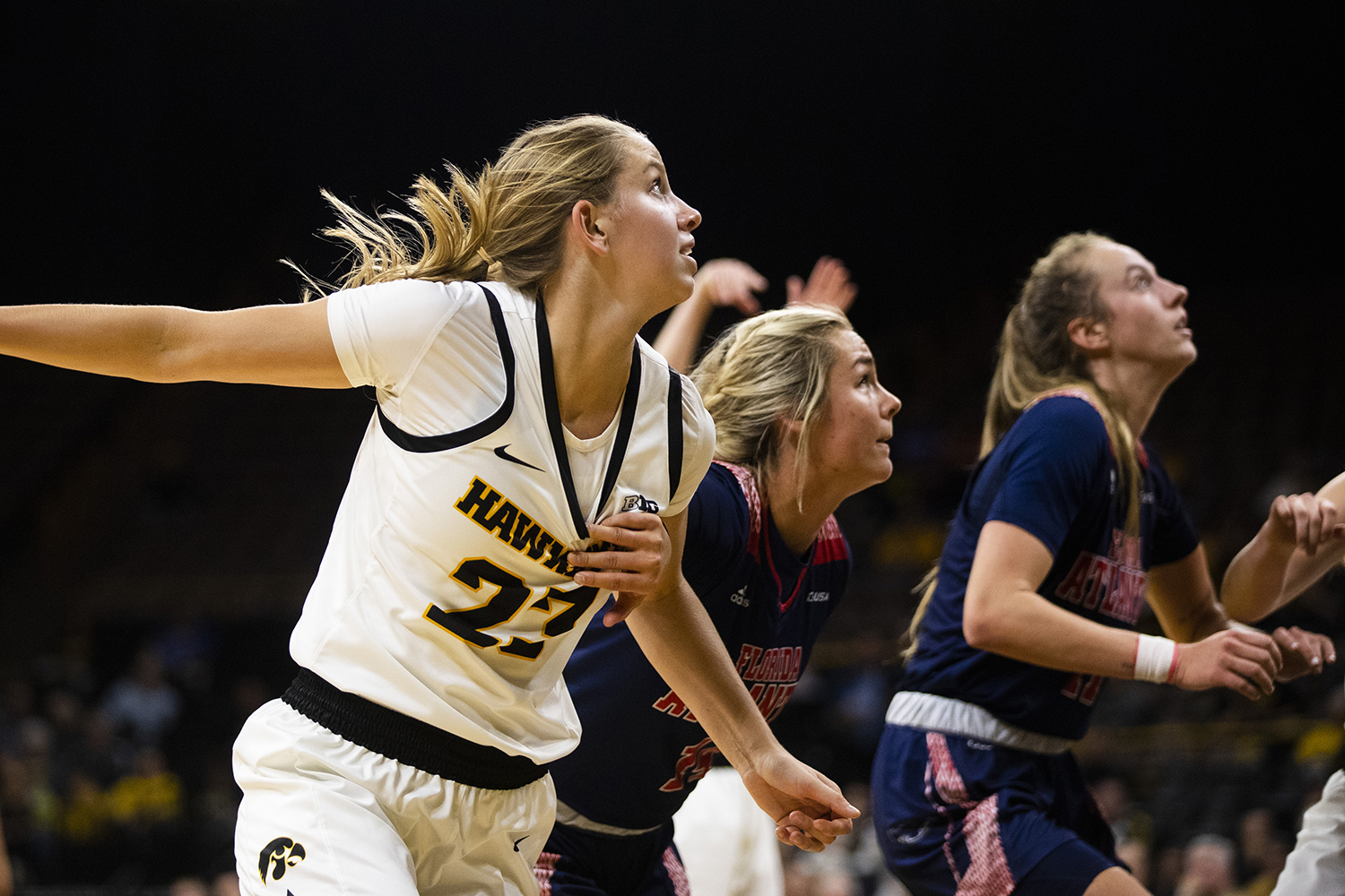 Iowa forward Logan Cook runs for a rebound during the women's basketball game against Florida Atlantic on Thursday, November 7, 2019. The Hawkeyes defeated the Owls 85-53. Cook played seven minutes in the game.