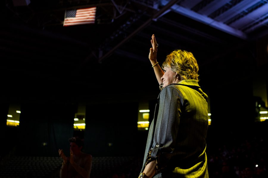 Iowa+head+coach+Lisa+Bluder+waves+to+the+stands+during+the+women%27s+basketball+game+against+Florida+Atlantic+on+Thursday%2C+November+7%2C+2019.+The+Hawkeyes+defeated+the+Owls+85-53.+Bluder+is+celebrating+20+seasons+as+a+coach+for+the+Hawkeyes.