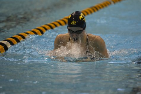 Iowa's Aleksandra Olesiak competes in the 200 Breaststroke during a swim meet at the CRWC between Iowa and Rutgers on Friday, Nov. 8, 2019. Olesiak finished first with a time of 2:18.85.