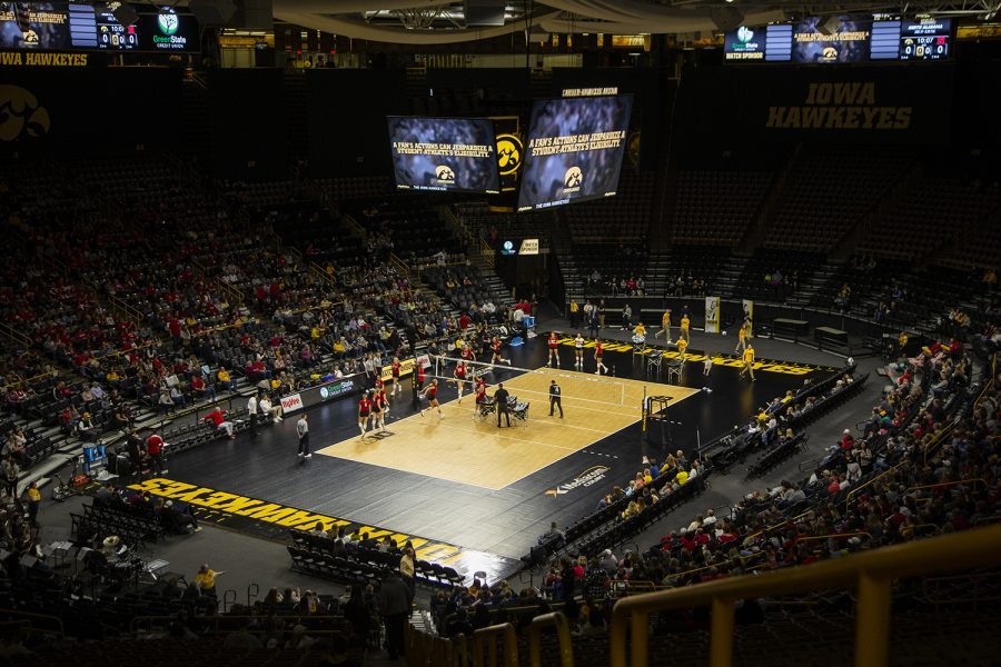 The+Nebraska+Cornhuskers+warm+up+before+their+game+against+the+Hawkeyes.+The+Huskers+defeated+the+Hawkeyes+in+three+sets+on+November+9%2C+2019%2C+at+Carver-Hawkeye+Arena.+