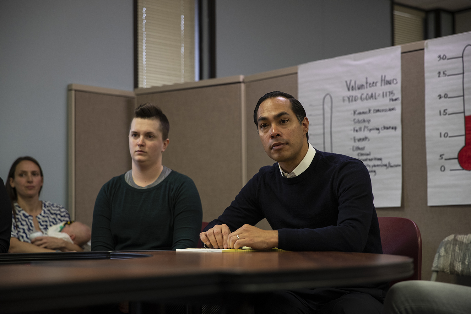 Former U.S. Secretary of Housing and Urban Development and 2020 Democratic candidate Julián Castro listens to parents and board members at The Arc of Southeast Iowa on Sunday, Nov. 10, 2019. Attendees brought up education, funding, privatization of medical care, minimum wage, and other factors that play into the needs of The Arc and the families they serve. (Jenna Galligan/ The Daily Iowan)