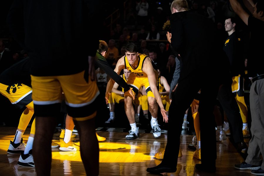 Iowa+forward+Luka+Garza+runs+out+before+a+game+against+Depaul+at+Carver+Hawkeye+Arena+on+Monday%2C+November+11%2C+2019.+The+Hawkeyes+were+defeated+by+the+Blue+Demons+93-78.+Garza+went+5-12+in+field+goals+and+had+a+total+of+14+points.