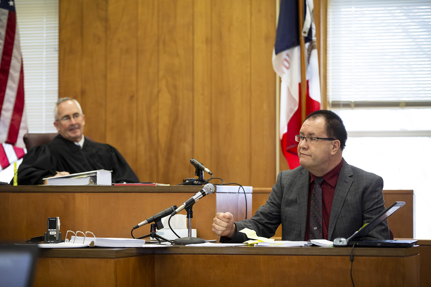 Interrogation expert Brian Leslie testifies during day two of an evidence suppression hearing at the Poweshiek County Courthouse on Thursday, Nov. 14, 2019 in Montezuma.