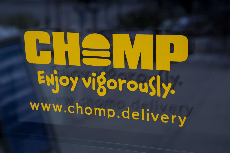 A CHOMP sticker is seen on the door of Mesa on Thursday, Nov. 14, 2019.