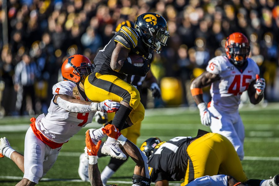 Iowa running back Tyler Goodson carries the ball during the football game against Illinois on Saturday, November 23, 2019. The Hawkeyes defeated the Fighting Illini 19-10. Goodson averaged 1.8 yards per carry during the game.