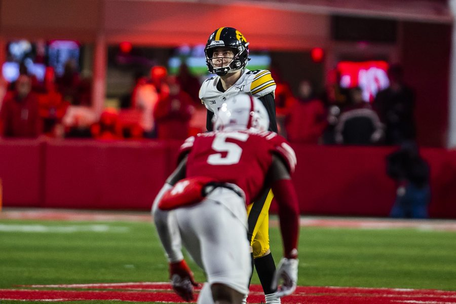 Iowa kicker Keith Duncan prepares to kick a field goal during the football game against Nebraska at Memorial Stadium on Friday, November 29, 2019. The Hawkeyes defeated the Cornhuskers 27-24. Duncan's kick caused the Hawkeyes to take the lead against Nebraska in the last six seconds of the game.