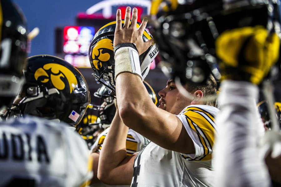 Iowa quarterback Nate Stanley cheers after the football game against Nebraska at Memorial Stadium on Friday, November 29, 2019. The Hawkeyes defeated the Cornhuskers 27-24. Stanley played his last regular season game.