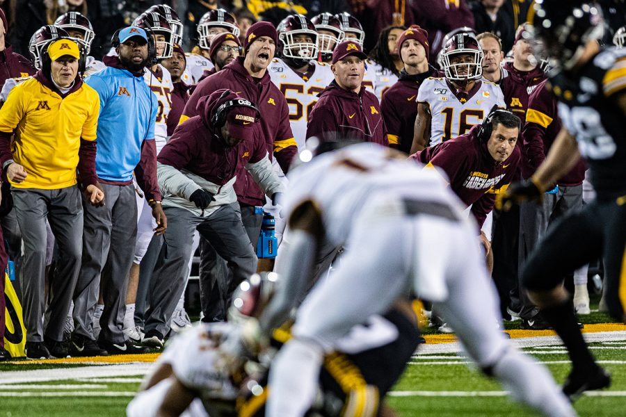Minnesota+coaches+watch+game+action+during+a+football+game+between+Iowa+and+Minnesota+at+Kinnick+Stadium+on+Saturday%2C+Nov.+16%2C+2019.+The+Hawkeyes+defeated+the+Gophers%2C+23-19.+