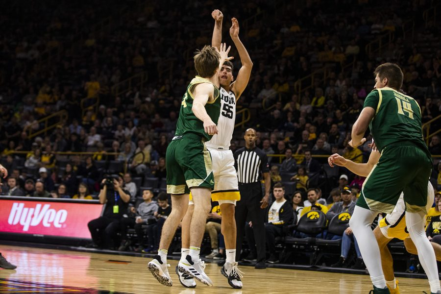 Iowa center Luka Garza shoots the ball during the mens basketball game against Cal Poly at Carver-Hawkeye Arena on Sunday, November 24, 2019. The Hawkeyes defeated the Mustangs 85-59.