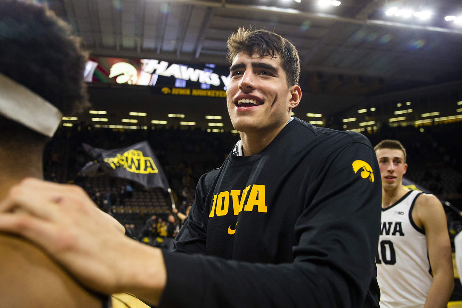 Iowa center Luka Garza celebrates the win after the   men's basketball game against Cal Poly at Carver-Hawkeye Arena on Sunday, November 24, 2019. The Hawkeyes defeated the Mustangs 85-59.