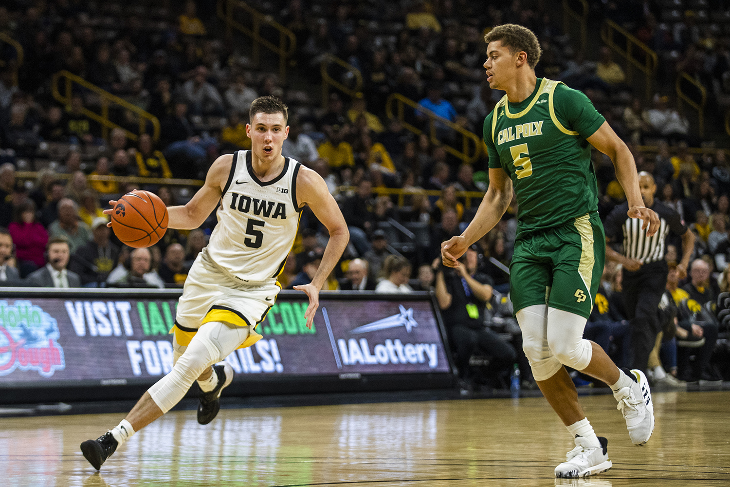 Iowa guard CJ Fredrick drives the ball during the men's basketball game against Cal Poly at Carver-Hawkeye Arena on Sunday, November 24, 2019. The Hawkeyes defeated the Mustangs 85-59.