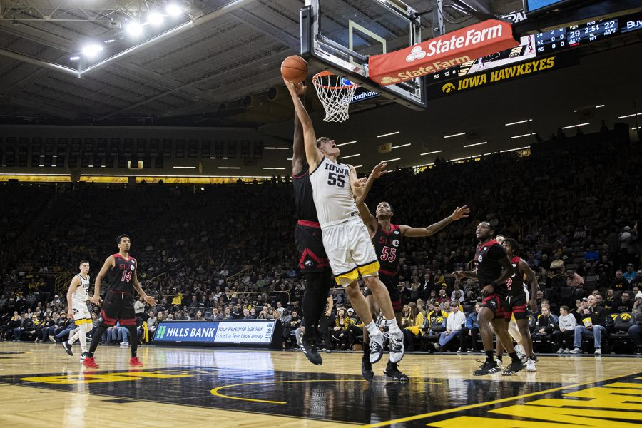 Iowa+center+Luka+Garza+goes+for+a+layup+during+a+men%27s+basketball+game+between+Iowa+and+SIUE+at+Carver-Hawkeye+Arena+on+Friday%2C+Nov.+8%2C+2019.