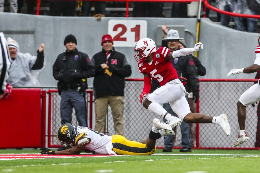 Iowa running back Tyler Goodson scores a touchdown during the football game against Nebraska at Memorial Stadium on Friday, November 29, 2019.