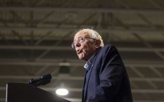 Sen. Bernie Sanders, I-Vt, addresses supporters at his rally at the Coralville Marriott Hotel and Conference Center on Saturday, Nov. 9, 2019. Sen. Sanders and Rep. Osasio-Cortez spoke on climate change and women's rights.
