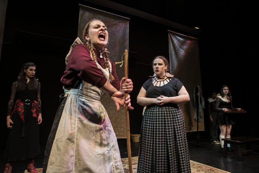 The University of Iowa Theatre department rehearses a production of Bonnets: (How Ladies of Good Breeding Are Induced to Murder) in the Alan MacVey Theatre on Wednesday, November 13, 2019. In the scene, the indentured servant, Webster violently lashes out against her mistress, Mrs. Wolcott, after enduring decades of verbal abuse.