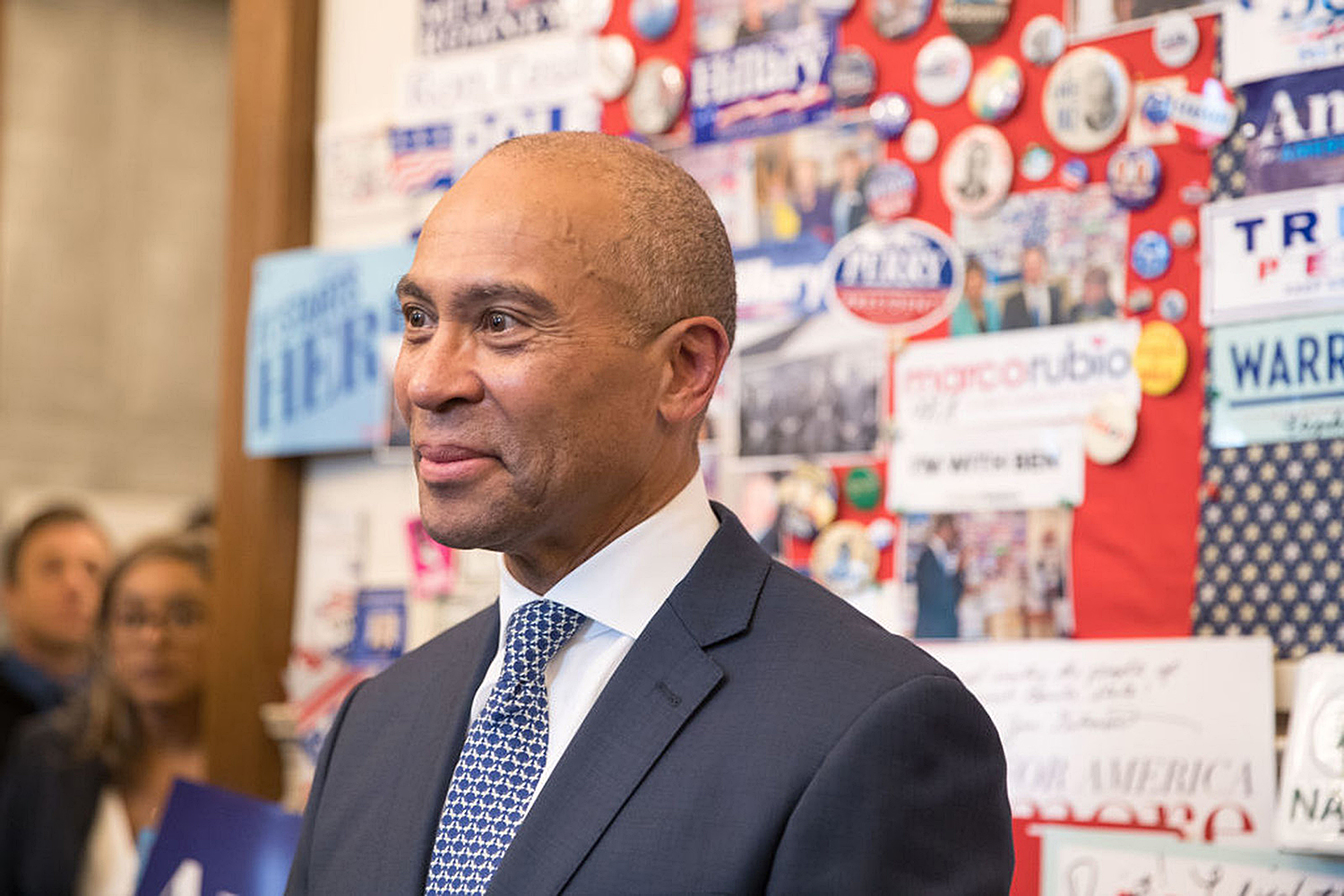Former Massachusetts Governor Deval Patrick stands in the visitor center of the New Hampshire State House after he filed his paperwork to run for president in 2020 at the New Hampshire State House on November 14, 2019 in Concord, New Hampshire. Patrick announced his late entry to the presidential race with less than three months to go before the first nominating contest.  (Scott Eisen/Getty Images/TNS)