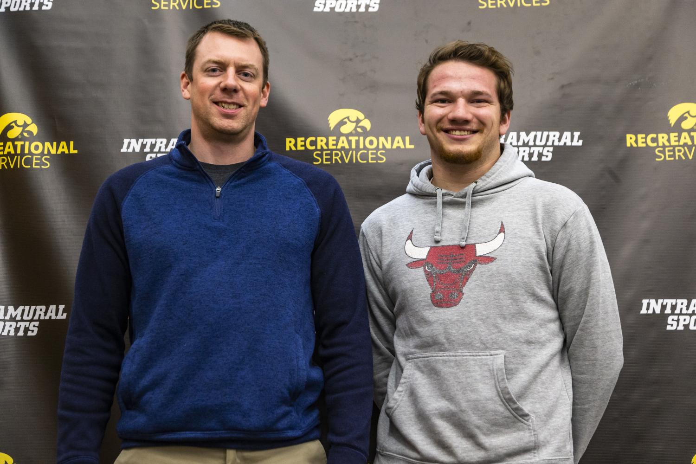 Matt Schaefer, UI Assistant Director of Sport Programs, and program assistant Peyton Rapier pose for a portrait on Nov. 5, 2019.