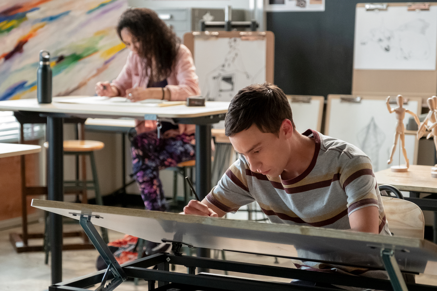 Art helps Sam (Keir Gilchrist), who has autism, express himself. (Beth Dubber / Netflix/TNS)