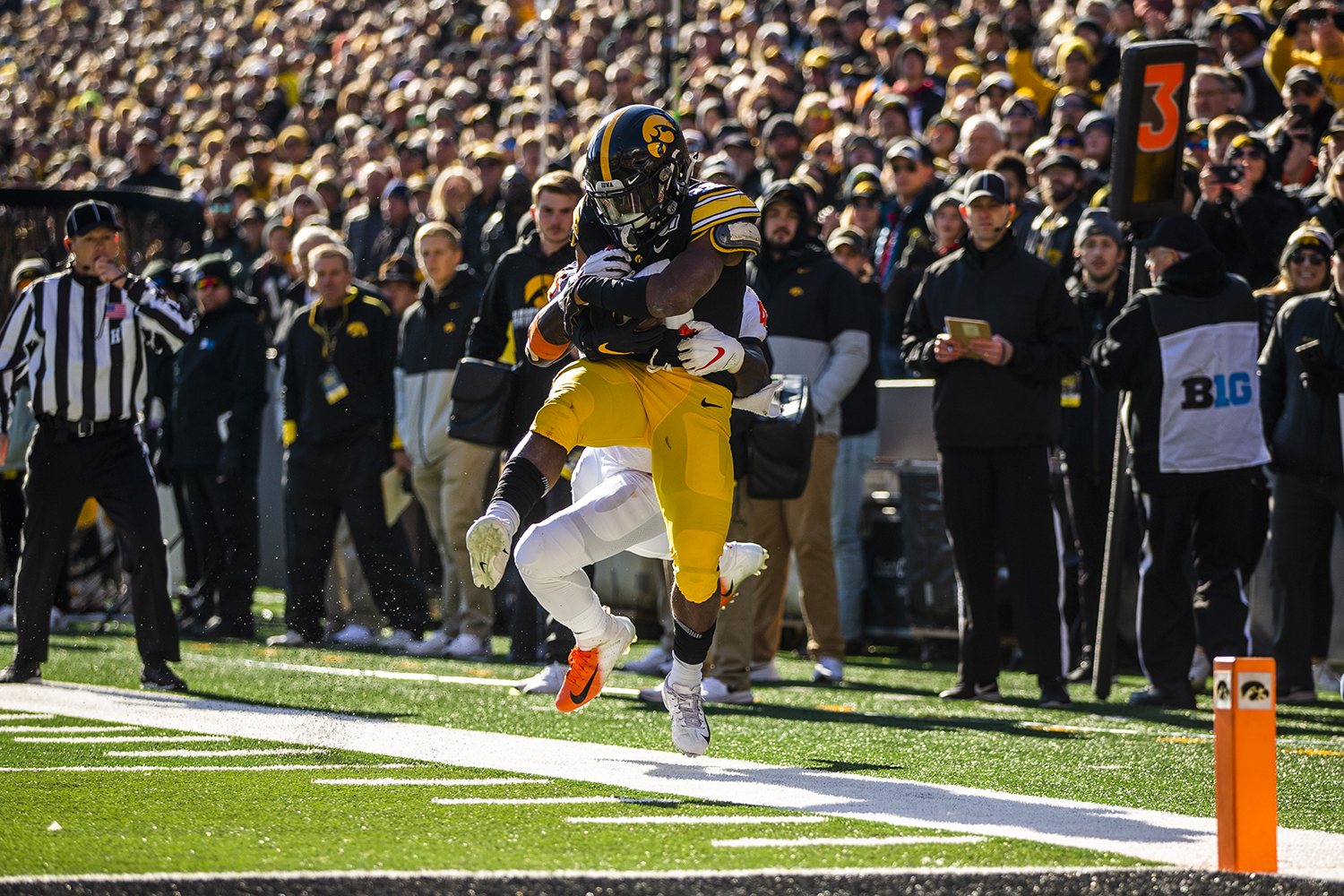 Iowa running back Tyler Goodson catches a pass during the game against Illinois on Saturday, November 23, 2019. The Hawkeyes defeated the Fighting Illini 19-10. Goodson rushed a total of 38 yards.