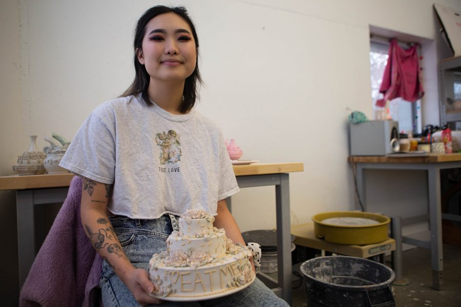 University of Iowa B.F.A. student Hannah Song poses for a portrait in her studio space inside the Visual Arts Building on Tuesday, Nov. 19, 2019. Song became interested in ceramics after taking classes during her first year at the UI.