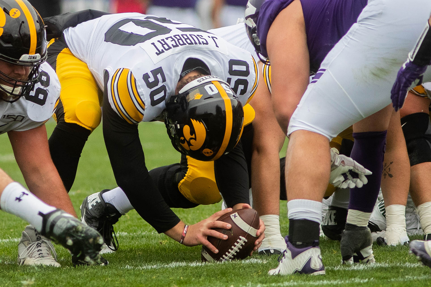 Iowa long snapper Jackson Subbert snaps the ball during a game against Northwestern at Ryan Field on Saturday, October 26, 2019. The Hawkeyes defeated the Wildcats 20-0. (Megan Nagorzanski/The Daily Iowan)