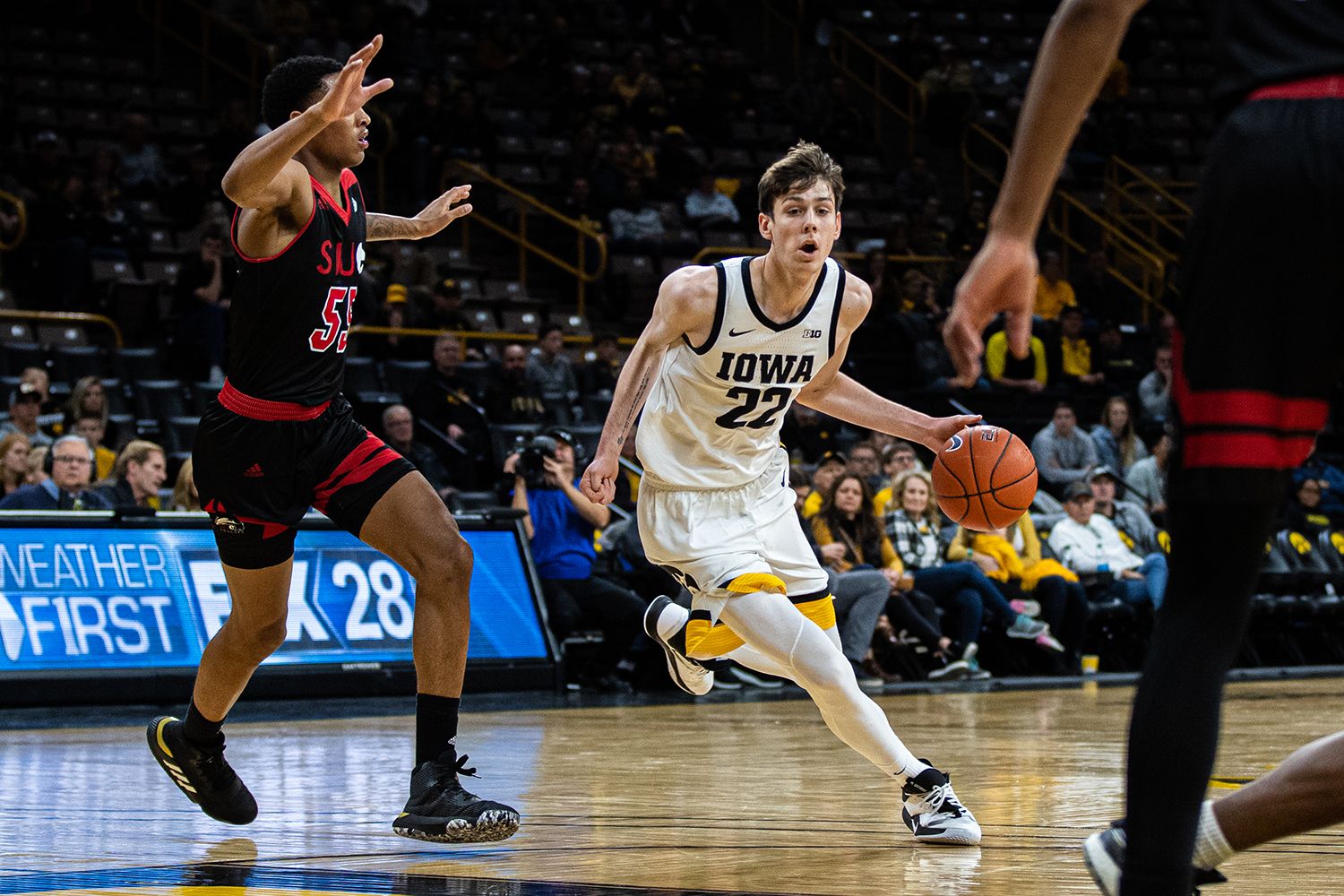 Iowa forward Patrick McCaffery drives to the rim during a men's basketball game between Iowa and Southern Illinois-Edwardsville at Carver-Hawkeye Arena on Friday, Nov. 8, 2019. The Hawkeyes defeated the Cougars, 87-60. (Shivansh Ahuja/The Daily Iowan)