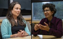 Left: Laura Bergus speaks with The Daily Iowan in October 2019. Right: Janice Weiner speaks with The Daily Iowan in October 2019.