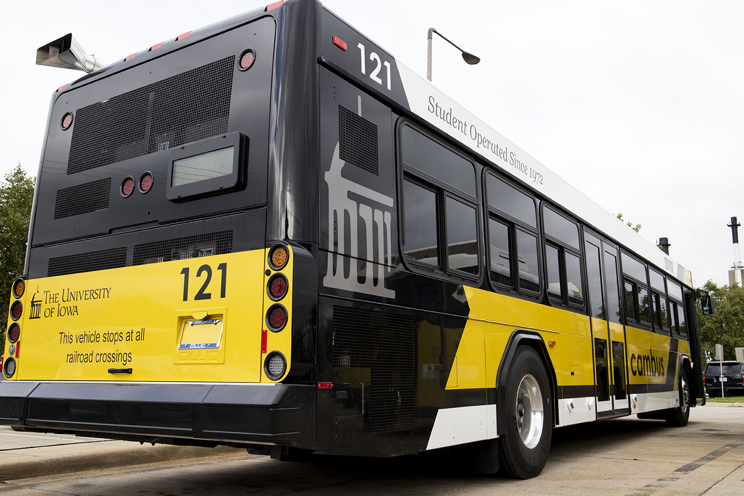 The new Cambus is seen at the Cambus Maintenance Facility on Friday, October 11, 2019. (Jenna Galligan/The Daily Iowan)
