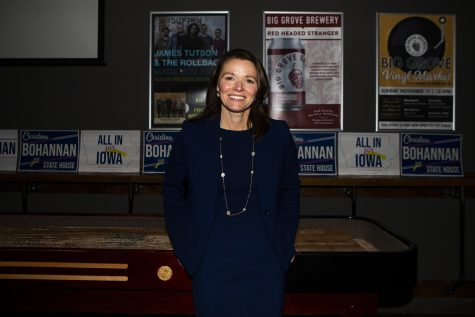 Iowa House candidate Christina Bohannon speaks during the kickoff event for her Iowa House bid at Big Grove on Wednesday, November 13, 2019. Bohannon advocates for combating climate change, voices for education, and addressing gun violence.