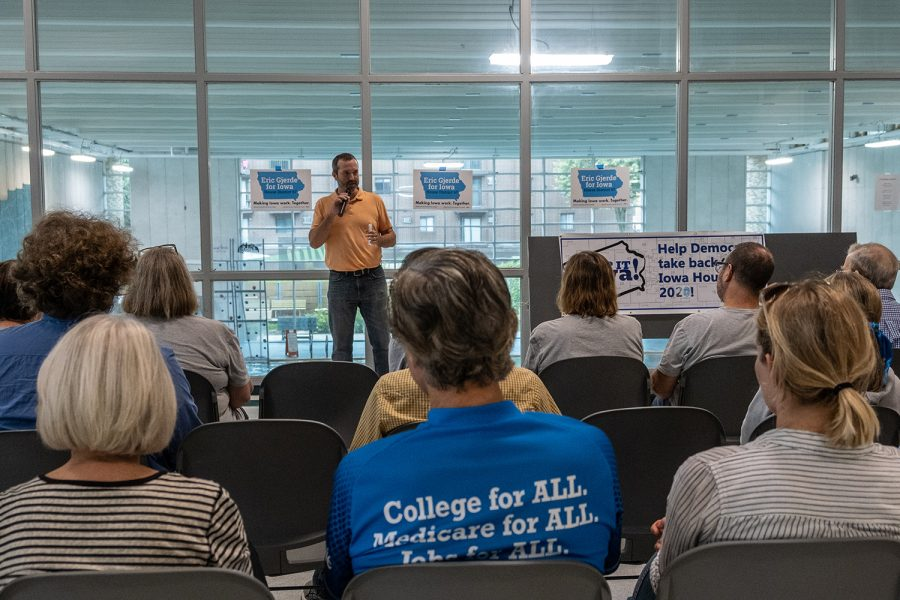 Eric Gjerde speaks to attendees during the Flip It Iowa! Fundraiser for Eric Gjerde at the Robert A. Lee Community Center in Iowa City on Sunday, September 8, 2019. Gjerde is running for the Iowa House of Representatives District 67.